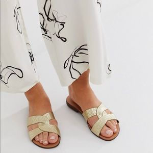 New Look Gilded Gold Flat Sandals WIDE WIDTH
